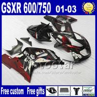 Wholesale Corona Fairings Red - 7gifts ABS fairings kit for 01-03 SUZUKI GSX R600 R750 2001 2002 2003 K1 red black Corona GSX-R 600 750 fairing aftermarket Lp93+Seat Cowl