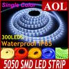 Hot selling SMD 5050 flexible LED Strip light waterproof IP65 300LEDs 5m roll LED rainbow lights warm white yellow green blue red white