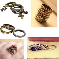 Moda 20sets Vampire Diaries Cross Rings 1/3/4/5 / pcs / set Vintage Gothic Rings Dia dos Namorados Gift Free Shipping