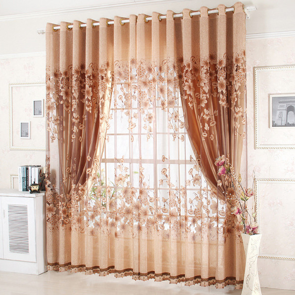 best selling Modern fashion high quality window curtains finished for living room bedding room luxury curtains+tulle beads for hotel Purple Brown