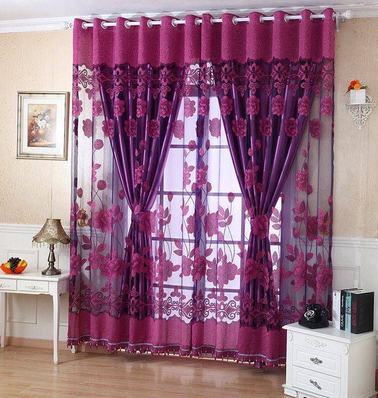 Rideau de luxe de mode pour le salon Tulle Rideau occultant 100% Traitement  des rideaux / tentures sur mesure Pourpre Prêt à l emploi