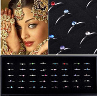 Wholesale Nose Rings Display - Wholesale 160pcs Body Jewelry Lots Steel Rhinestone Nose ring Studs with display[NS28*4]