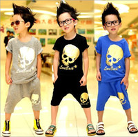 Wholesale girls skull t shirt - Wholesale- NEW!boys cool outfits children skull Short Sleeve T-shirts+Breeches 2 Piece suits kids summer fashion sets popular clothing 5s l
