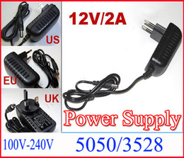 Wholesale 12v Dc Mm - Power Charger AC100-240V to DC 12V 2A 5.5 x 2.5 mm EU US UK Plug AC DC Power adapter charger Power Supply Adapter for led strip light