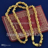 14 ayar sarı altın doldurma zinciri toptan satış-Toptan Satış - Sıcak satış Twisted Splendid 14k Gerçek Sarı Altın Kolye Dolgulu Halat link Zinciri GF Takı Mens veya Bayan, 60cm, 4mm genişliğinde ücretsiz S / H