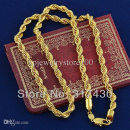 Wholesale Twisted Rope Chain Link - Wholesale - Hot sale Twisted Splendid 14k Real Yellow Gold Filled Necklace Rope link Chain GF Jewelry Mens or womens,60cm,4mm width free S H