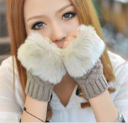 2017 Зима новая мода женщины теплый искусственный мех перчатки женские волосы кролика трикотажные утолщаются варежки без пальцев мягкие перчатки без пальцев от