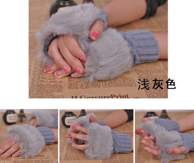 Guanti braccio Winter Fashion Warmer Guanti senza dita lavorato a maglia la disposizione della pelliccia del guanto caldo morbido Faux Fur femmina guanti coniglio la tastiera i