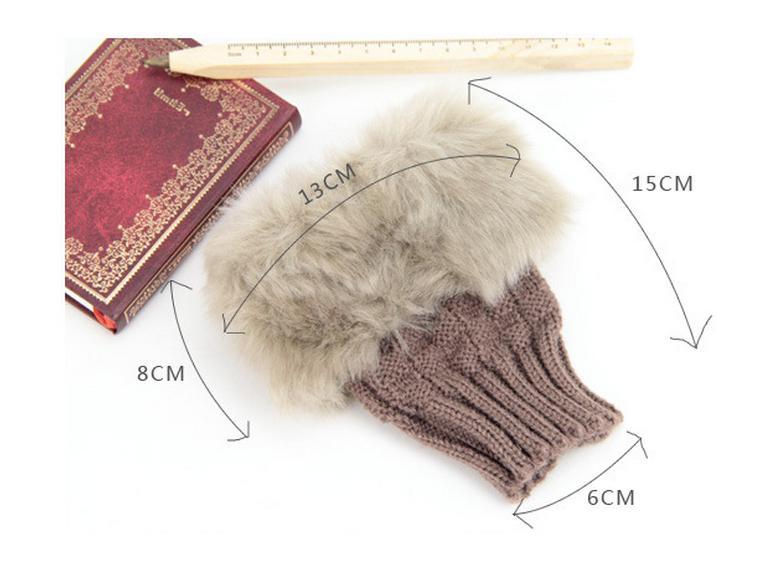 Luvas Arm moda inverno mais quente fingerless luva de malha guarnição da pele Mitten macio morno Luvas Faux pele de coelho Feminino teclado 8 cores