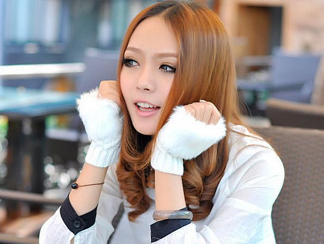 Klavye için Moda Kış Kol Isıtıcı Parmaksız Eldiven Örme Kürk Trim Eldiven Mitten Yumuşak Sıcak Faux Fur Eldiven Kadın Tavşan