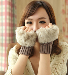 Wholesale Wholesale White Cotton Gloves - Fashion Winter Arm Warmer Fingerless Glove Knitted Fur Trim Gloves Mitten Soft Warm Faux Fur Gloves Female Rabbit for keyboard 8 Colours