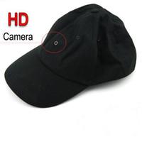 beyzbol kap video kamera toptan satış-Siyah Renk Kaliteli Beyzbol Kap / Şapka Kamera DVR Video Kaydedici Uzaktan Kumanda ve MP3 Çalar Fonksiyonu Ile Destek Max 16 GB