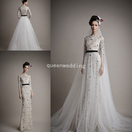 Wholesale Ersa Atelier Wedding Dresses - Ersa Atelier Sheath Wedding Dresses 2014 Fashion new High neck Half Sleeve Beads Lace Bridal Gowns With Removable Chapel Train Tulle