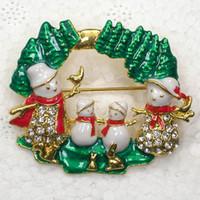 Wholesale Christmas Snowman Crystal Pins - Fashion Trendy Christmas gift Brooches Wholesale Clear Crystal Rhinestone Enamel Snowman Brooch Pin Christmas tree Jewelry C2102