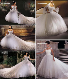 Wholesale Long Monarch Train Wedding Gowns - New Design 2014 Ball Gown Wedding Dresses Appliques Halter Long Sleeves White Ivory Bridal Gowns Free Jacket