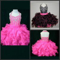 Wholesale free kids pageant dresses - Free Shipping Ball Gown Halter Girl's Pageant Dresses Mini Short Organza Ruffles Beads Sequins Kids Discount Flower Girl Dresses