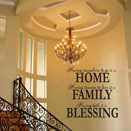 Wholesale Kids Room Wall Art Quotes - S5Q Home Family Blessing Wall Quote Sticker Decal Removable Art Mural Home Decor AAADCZ