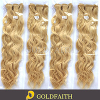 Wholesale Lightest Natural Blonde - Free Shipping #613 Lightest Blonde Natural Curl Brazilian Remy Hair Machine Weft Human Hair Extensions