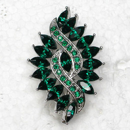 Wholesale Costume Jewelry Green Pendants - Wholesale C597 M Green Marquise Crystal Rhinestone Wedding party prom Flower brooches pins Fashion Costume Pin Brooch & Pendant jewelry gift
