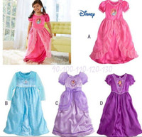 Wholesale Organic Cotton Dresses Girls - New arrival 4colors Princess Elsa Nightgown for Girls Sleep Dress Dress pajamas