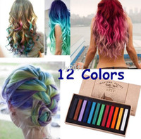 Wholesale Dye Pastel - Hot Fashion Healthy Crayons For Hair 12 Color Fast Non-toxic Temporary Pastel Hair DIY Painting Extension Dye Chalk
