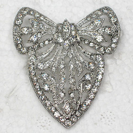 Wholesale china shipping costume for sale – halloween Crystal Rhinestone Bowknot Brooches Fashion Costume pin brooch jewelry gift C741
