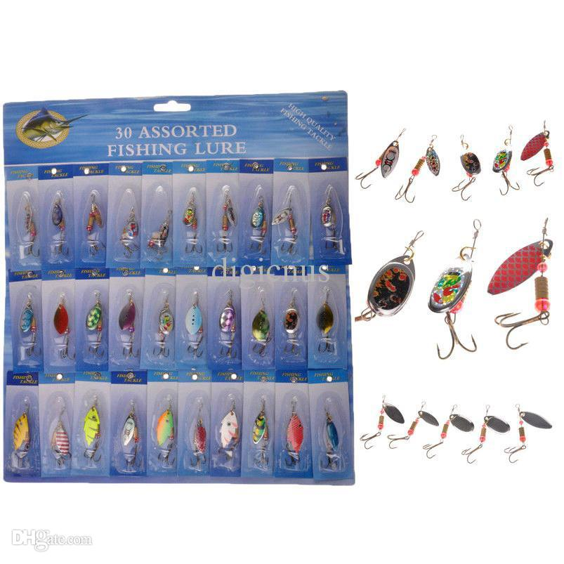 S5Q 30pcs Kinds Of Fishing Lures Rotation Sequins Set Hooks Minnow Baits Tackle AAADCG