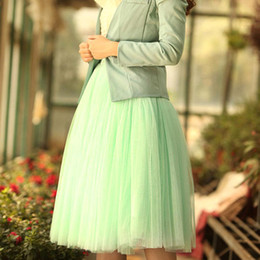 Wholesale Cute Women Skirts - S5Q Women Dress Soft Gauze Cute Bouffant Skirt Hot Princess Fairy Style 5 Layers Tulle AAADCA