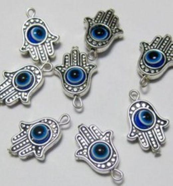 Wholesale - - Free Shipping 100Pcs Hamsa Hand EVIL EYE Kabbalah Luck Charms Pendant Fit Bracelet 19x12mm