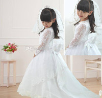 Wholesale Veils Color Blue - Pageant Lace Beaded Bow Flower Girl Dresses With A Train Embroidery Hot Sale 2014 New Girls Gown Long Sleeve gift veil custom made