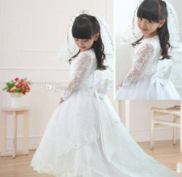 veil communion Canada - Pageant Lace Beaded Bow Flower Girl Dresses With A Train Embroidery Hot Sale New Girls Gown Long Sleeve gift veil custom made