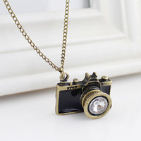 Wholesale Necklaces For Women Cameras - New Arrival Hot Sale Antique Style Individual Gold Color Alloy White Rhinestone Camera Pendant Necklace for Women