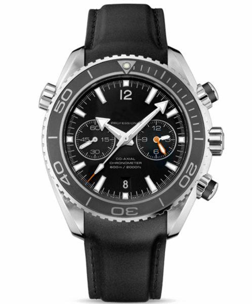 Mans Luxury Swiss Sea Planet Ocean Co-Axial 600 M Date Black Genuine Leather Watches Best Brands Stopwatch Mens Quartz Wrist Watch For Men