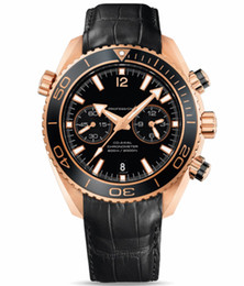 Planeta oceano ouro on-line-Luxo Mens Quartz Chronograph Relógios Casual Swiss Rose Gold 18K Mar Planeta Oceano Co-Axial 600M data Moda Men Leather Watch Strap Venda