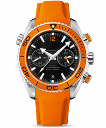 Planet Ocean Orange Leather Canada - Luxury Brand Men Leather Watch Strap Casual Automatic Mechanical Orange Sea Planet Ocean Co-Axial 600 Face Fashion Mens Sports Watches Date