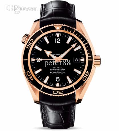 Luxury Swiss Brands Men Automatic Mechanical Stainless Watches Rose Gold 18K Sea Planet Ocean Co-Axial 600M date Fashion Men Leather Watch