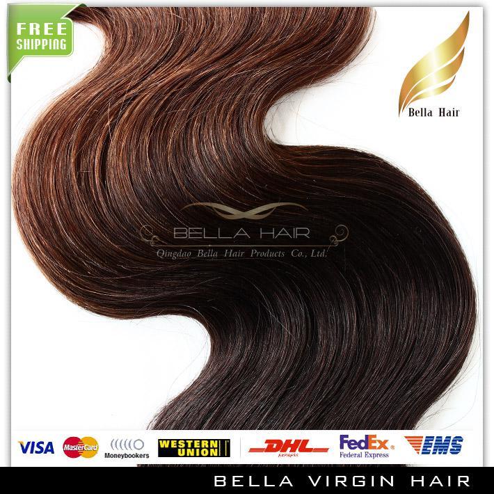 Extensiones brasileñas del pelo de la onda del cuerpo 2 Tono Ombre Weaves T # 1B / # del pelo humano teje la trama Dip Dye Ombre Hair Bella Hair