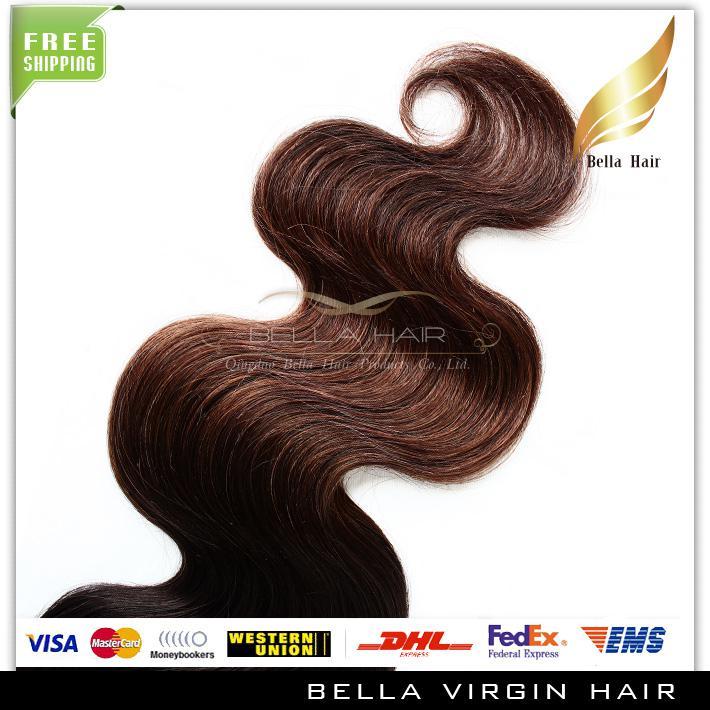 Extensões do cabelo da onda do corpo brasileiro 2 Tone Ombre Weaves T # 1B / # 4 cor dos cabelos Weaves trama Dip Dye Ombre frete grátis BellaHair