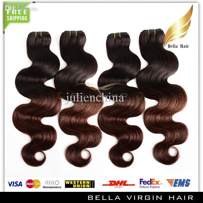 ニュースターオンベールヘアエクステンションペルーの人間の髪の毛の波の波の波状2トーンオムレ織り女クイーン髪生成品ディップ染料t#1b /#4色Ombrehair