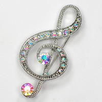 Wholesale Brooch Music - 12pcs lot Wholesale Crystal Rhinestone Music Note Pin Brooch Fashion brooches pins Costume jewelry gift C917