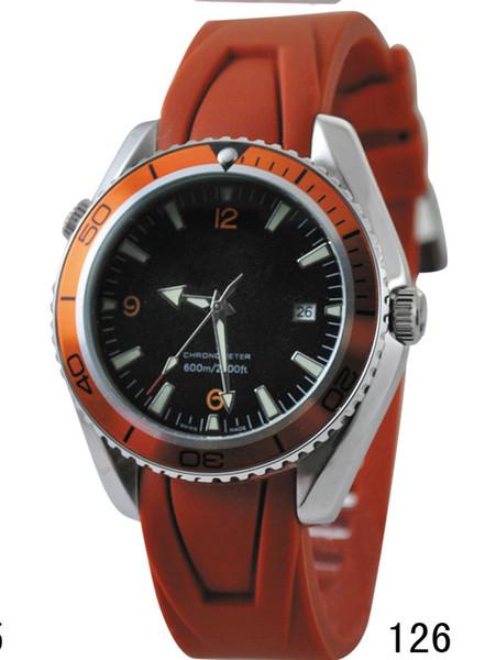 Hommes de luxe automatique mouvement mécanique caoutchouc montres en caoutchouc Sea Planet Ocean Co-Axial 600 m Date
