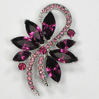 Wholesale D1 Pin - Wholesale C443 D1 Amethyst Marquise Crystal Rhinestone Brooches Wedding party prom Flower Pin Brooch Fashion costume jewelry gift