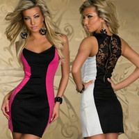 Wholesale Girl Sheer Lingerie - 969summer women2017 girl new fashion white red color block back hollow lace zipper sexy lingerie clubwear dress bodycon dresses plus size XL