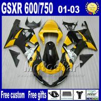 Wholesale Gsxr Black Yellow - 7gifts +Seat Cowl ABS fairing kit for SUZUKI GSX-R 600 750 K1 2001-2003 GSXR 600 750 01 02 03 yellow black moto bodywork fairings Uy61