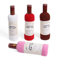 Wholesale Towel Wine - Cake towel day gift opp bags single bottle wine 100% cotton single bottle red wine