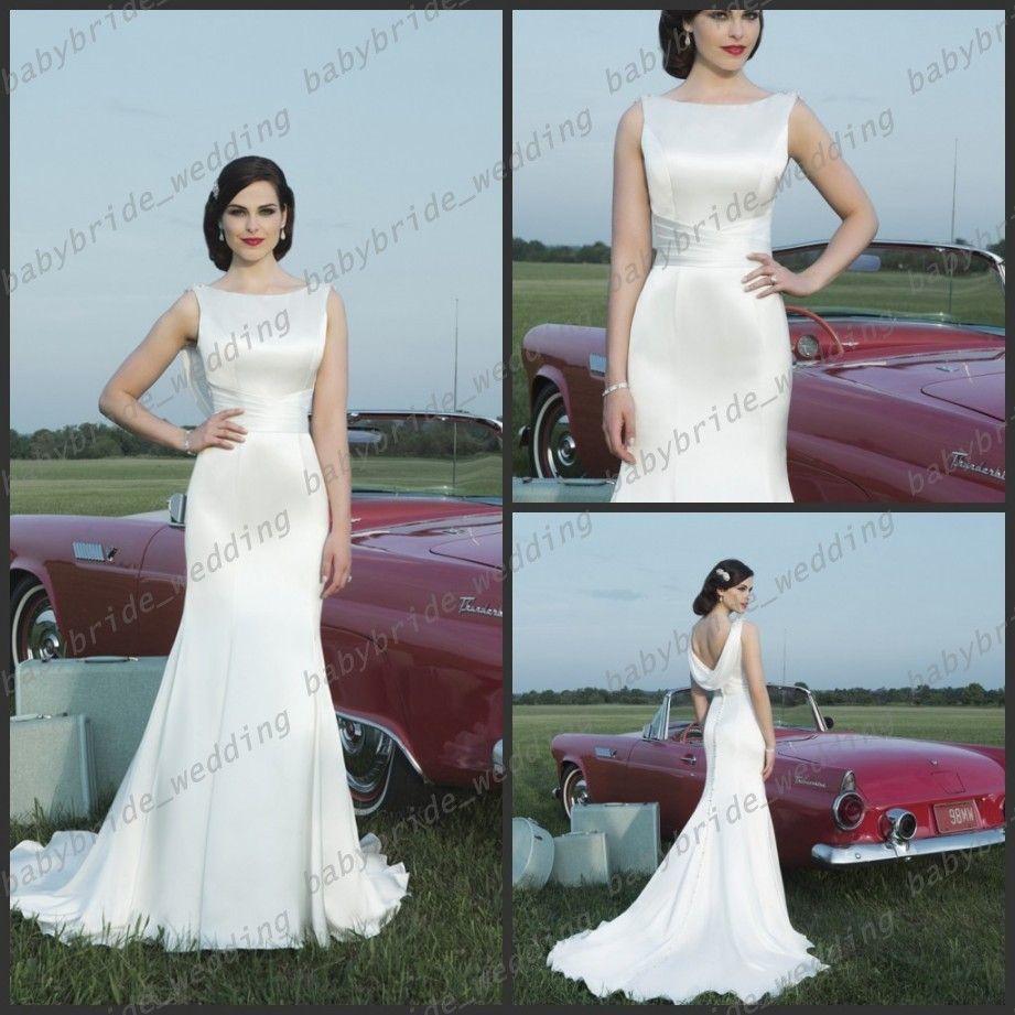 Cowl Neckline Wedding Gowns: Sabrina Neckline Cowl Back Mermaid Beading Shoulder Ivory