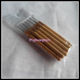 Handle For Hair Canada - bamboo handle hair threader pulling loop hook needles for micro ring hair 12pcs per lot