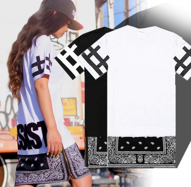Unisex Hip Hop Tee Yeni Durdurma Desist Paisley Bandana Baskı Grafik Unisex T Gömlek Yan Fermuar Genişletilmiş Kadınlar ve Erkekler T-Shirt