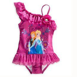 Wholesale Girl Swim Lace - In stock Frozen baby girls bath suit Girl tutu dress Swimwear Swim Bodysuit Anna and Elsa princess lace flower Swimsuit kids beach clothes