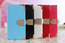 Wholesale S3 Diamond Flip Cover - Bling Rhinestone Diamond Buckle Leather Flip Wallet Lizard Pattern Pouch Case Cover For Samsung Galaxy S3 S4 S5 I9600 SV